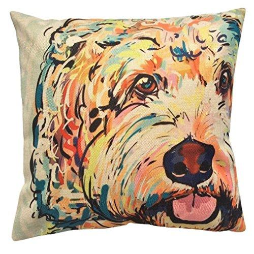 HUHU833 45cm*45cm Pillow Case, Merry Christmas Cute Dog Sofa Bed Home Decoration Festival Pillow Case Cushion Cover (Dog G)