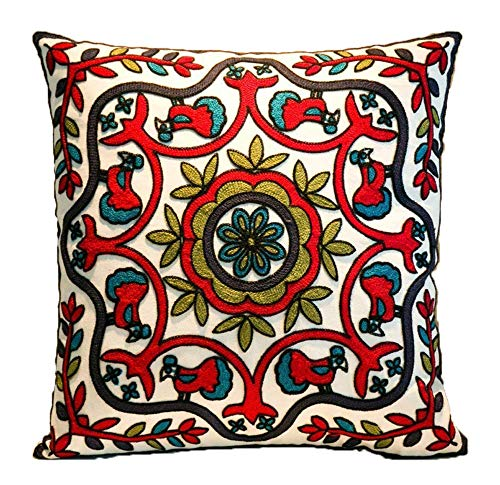 Cushion Cover 45x45cm Sofa Cushion Home Decoration ZUODU Hand Made National Embroidery Bohemian Housewarming Car Home Decoration Cushion Cover/Throw Pillow Cover (Pattern-10)