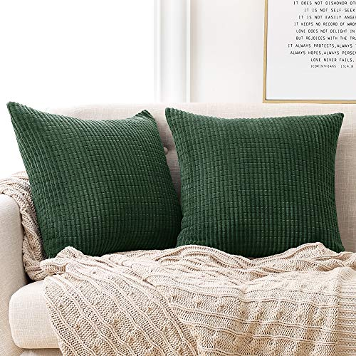 Deconovo Set of 2 Home Decorative Corduroy Green Cushion Covers 45cm x 45cm, 18x18 Inches Grid Solid Cushion Covers, Square Throw Pillow Cases for Sofas Seats(Dark Green, 2 Pieces)