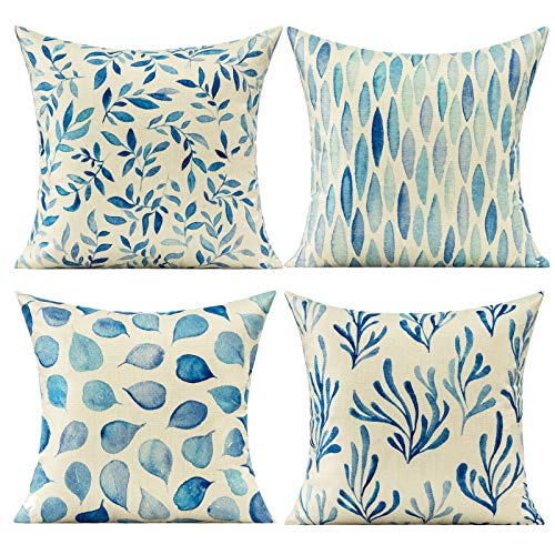 VAKADO Dark Navy Blue Leaves Cushion covers Outdoor Watercolor Style Floral Decorative Cushion Cases Square Natural Abstract Throw Pillow Covers for Couch Sofa Bedroom Office 18x18 Set of 4,45cmx45cm