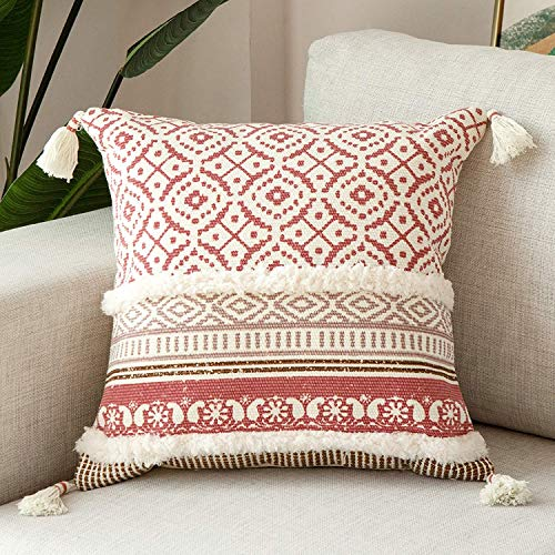 hi-home Boho Cushion Covers, Tufted Decorative Throw Pillow Covers Modern Square 45x45cm Pillowcases with Tassels for Couch Sofa Bedroom Livingroom, Soft Cotton Pillow Case Pink