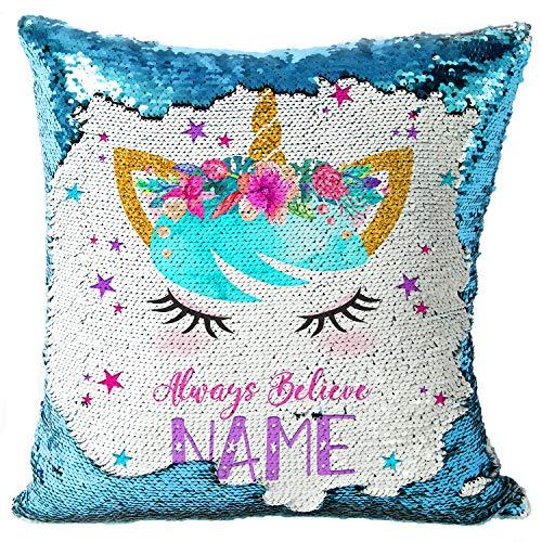 KRAFTYGIFTS Personalised UNICORN Magic Reveal Sequin Cushion Cover Mermaid Case BLUE KC55