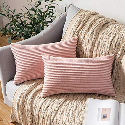 MIULEE Striped Corduroy Fabric Square Throw Pillow Case,Solid Cushion Cover Sham Home for Sofa Chair Couch/Bedroom Decorative Pillowcases Pink 12'x20' 2 Pieces
