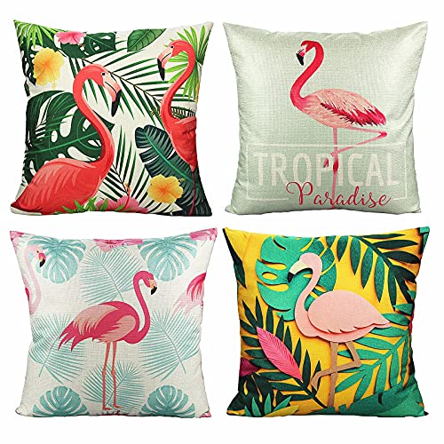 VAKADO Tropical Flamingo Bird Cushion Covers Decorative Flower Plant Throw Pillow Covers 18x18 Set of 4 for Car Sofa Patio Couch Furniture