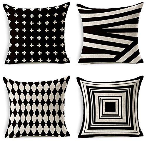 JOTOM Cushion Covers Decorative Square Throw Pillow Cover Sofa Car Pillowcase for Outdoor Home Bed Decor 45cm x 45cm,Set of 4 (Black shading)