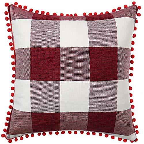 PiccoCasa 1 Pcs Buffalo Check Plaid Throw Pillow Cover with Pom Poms, 45 x 45cm, Retro Farmhouse Decorative Cushion Cover for Sofa Couch Bed Home Decor, Burgundy Beige Red