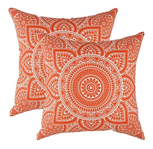 TreeWool, (2 Pack Cushion Covers Mandala Accent in Cotton Canvas (45 x 45 cm / 18 x 18 Inches, Orange)