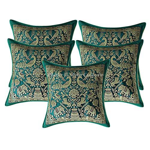 Stylo Culture Ethnic Decorative Cushion Covers 30 x 30 Set Of 5 Emerald Green Banarsi Brocade Jacquard Brocade Sofa Throw Pillow Covers Elephant Peacock 12x12 Pillow Cases