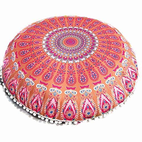 JJ. Accessory Geometric Cushion Cover 80x80cm Round Pillow Case Mandala Floor Pillows Cover Bohemian Meditation Cushion Cover Ottoman Cover Pouf Handmade (Cushion Not Inclued)