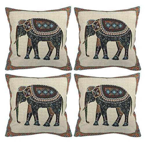 Luxbon Set of 4 Pcs Indian Tapestry Jacquard Elephant Cushion Covers 18x18 Sofa Throw Pillowcase 45x45cm Animal Cotton Linen Cushion Case Covers Pug Gifts Home Decors