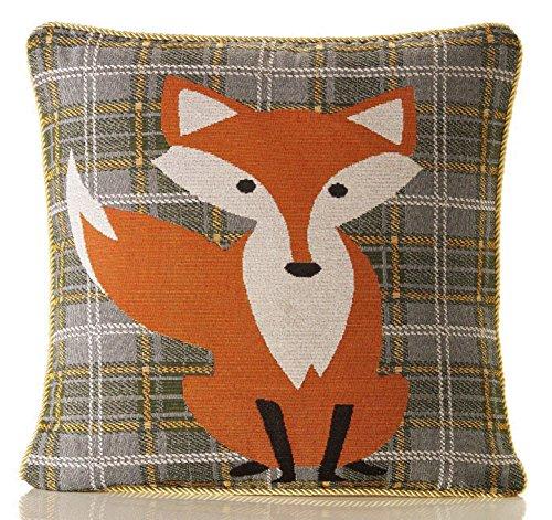 Red Rainbow Orange, Gold & Green Tartan Check Fox Design 18 inch Cushion Cover