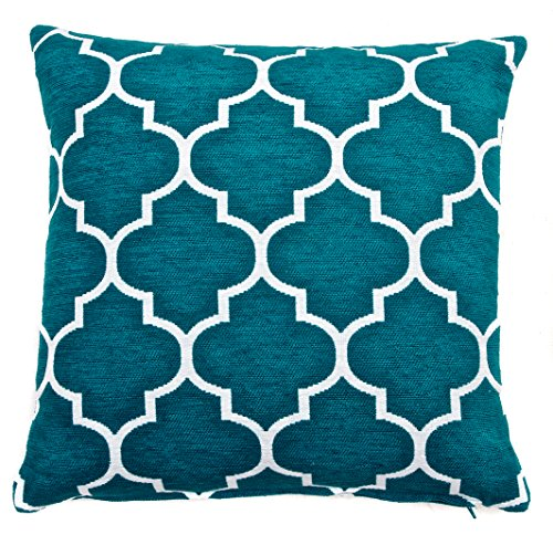 Red Rainbow Teal Blue & White 18 inch Chenille Moroccan Geometric Cushion Cover