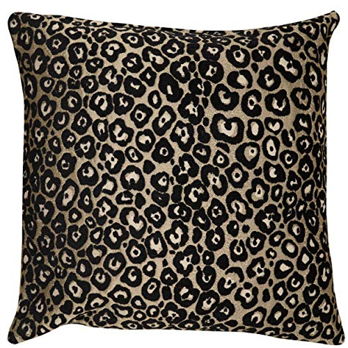 Panther Textured Cushion Cover. Black and Bronze Leopard Spots with a Metallic Finish. 17x17' Square, Double Sided. Cover Only.