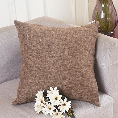 Home Brilliant Decorative Faux Linen Throw Pillow Cover Cushion Case for Floor, 26x26 inches, Brown