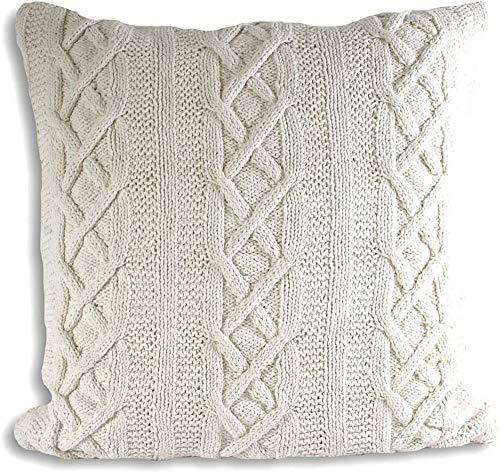 Paoletti Aran Cushion Cover, Cotton, Cream, 55 x 55cm (22' x 22')