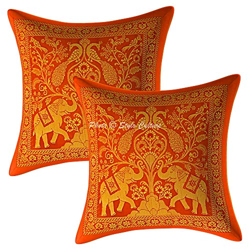 Stylo Culture Indian Brocade Decorative Cushion Covers 30 x 30 cm Orange Gold Elephant 12x12 Inch Jacquard Square Living Room Peacock Throw Pillow Covers - (Set Of 2 Pcs)