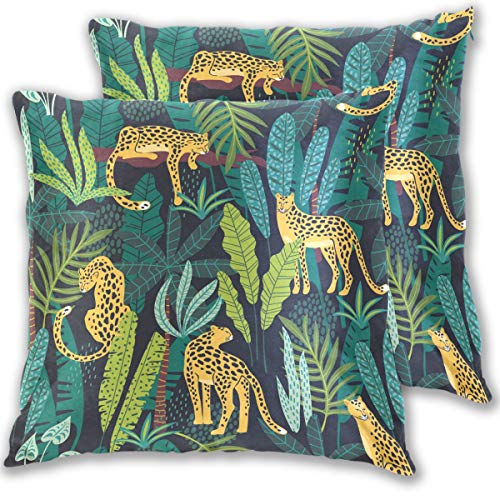 SENNSEE Jungle Animal Leopard Decorative Pillow Covers Cotton Velvet Cushion Covers 20x20 inch Set of 2 Square Pillowcase for Home Couch