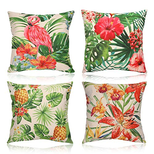 HOWAF 4 Tropical Throw Cushion Covers Decorative Cotton Linen Pillow Cases for Sofa Chair Couch Bed Living Room Home Car 45cm x 45cm, Cushion Cover Pattern Hawaiian Flower Palm Leaf Pineapple Flamingo