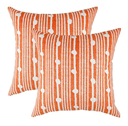 TreeWool Cushion Covers Spots Accent in Cotton Canvas (40 x 40 cm, Orange & Cream Background) - Pack of 2