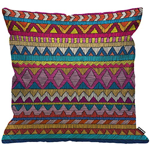 HGOD DESIGNS Cushion Cover Indian Sari Embroidered Pattern Ornament Colorful Ethnic and Tribal Throw Pillow Cover Home Decorative for Men/Women/Boys/Girls Living Room Bedroom Sofa Chair 18X18 Inch
