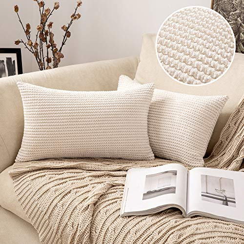 MIULEE Pack of 2 Corduroy Cushion Covers Decorative Throw Pillow Cover Square Pillowcase Home for Safa Bedroom Living Room 12x20 Inch 30x50 cm White