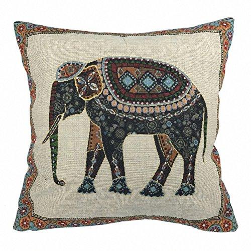 Luxbon Jacquard Lucky Elephant Cushion Covers 18x18 Sofa Throw Ethnic Animal Pillowcase 45x45cm Cotton Linen Cushion Case Covers Festive Holidays Home Decors