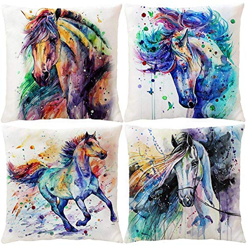 Watercolor Horse Throw Pillow Covers, Decorative Cushion Covers Pillowcase Cushion Case for Sofa Bed 18 x 18 Inch Set of 4