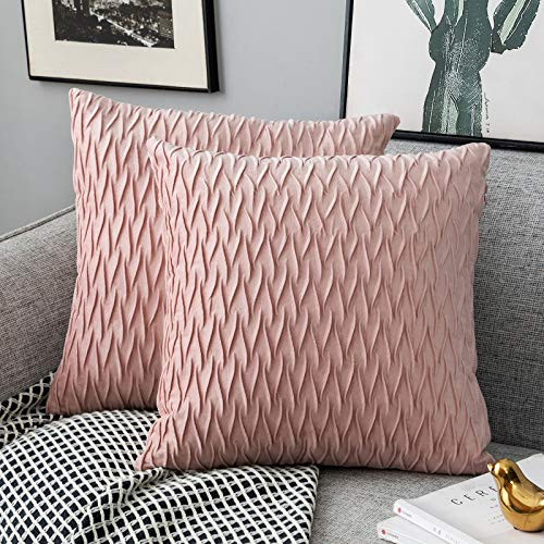Yamonic Pack of 2 Cushion Cover Super Soft Velvet Pillow Covers Square Decorative Pillowcase for Sofa Bed Couch Bench, 18 x 18 inch, Pink