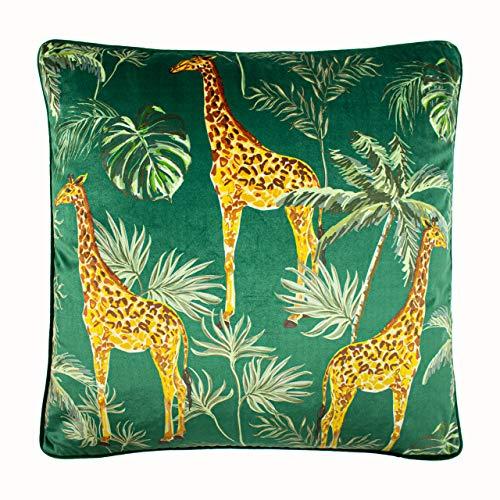 Paoletti Giraffe Palm Cushion Cover, Green, 50 x 50cm