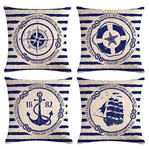 Freeas Set of Ocean Navigation Pillow Cases, Throw Cushion Cover Cotton Linen Pillowcase Home Decoration,45x45cm