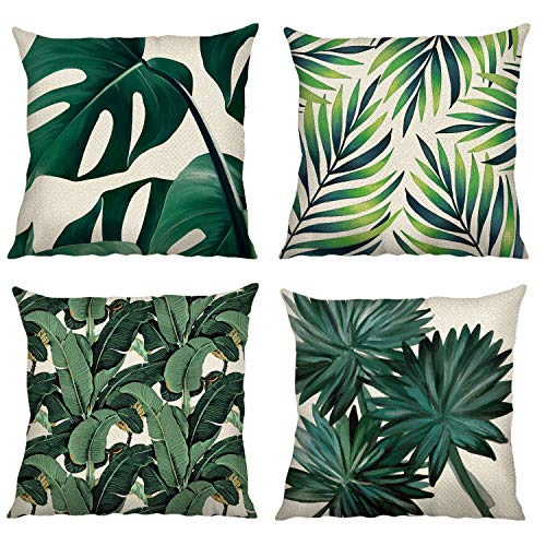 Bonhause Tropical Leaves Cushion Covers 18 x 18 Inch Set of 4 Green Leaf Decorative Throw Pillow Covers Polyester Linen Pillowcases for Sofa Couch Car Bedroom Home Decor, 45 x 45 cm