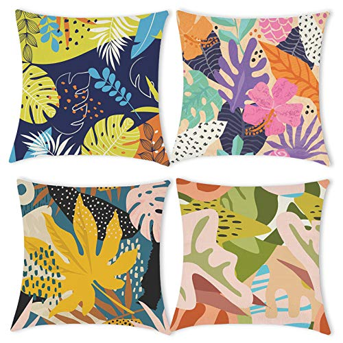 Carttiya Cushion Cover 18 x 18 Inch, Square Throw Pillow Case 45 x 45 cm Set of 4, Floral Tropical Cotton Linen Home Decor Christmas Cushion Covers New Year Pillowcases for Livingroom Sofa Bedroom