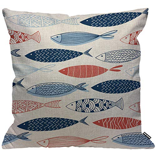 HGOD DESIGNS Fish Pattern Cushion Cover,Kinds of Fish Designs Throw Pillow Case Home Decorative for Men/Women Living Room Bedroom Sofa Chair 18X18 Inch Pillowcase 45X45cm