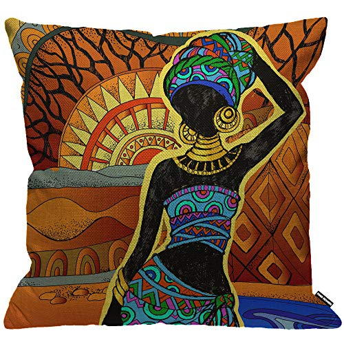 HGOD DESIGNS Cushion Cover African Woman,Throw Pillow Case Home Decorative for Men/Women Living Room Bedroom Sofa Chair 18X18 Inch Pillowcase 45X45cm