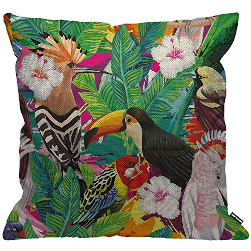 HGOD DESIGNS Parrot Cushion Cover,Tropical Bird Toucan Leaves and Hibiscus Flowers Throw Pillow Case Home Decorative for Men/Women Living Room Bedroom Sofa Chair 18X18 Inch Pillowcase 45X45cm