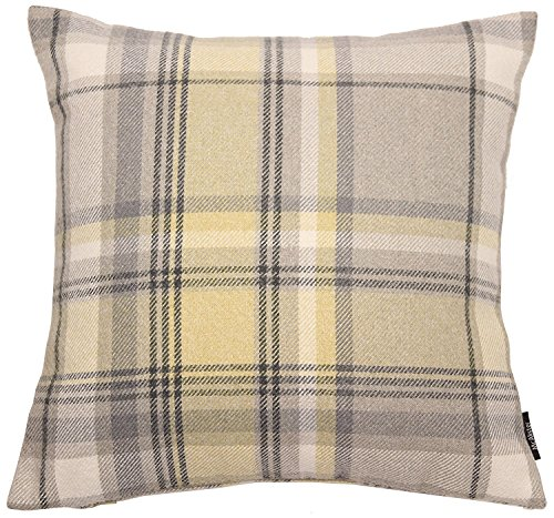 Quality Soft Tartan Check Plaid Cushion Covers Perfect As Bedroom or Living Room Accessories Mimosa Yellow 60x60cm Heritage Range By McAlister Textiles