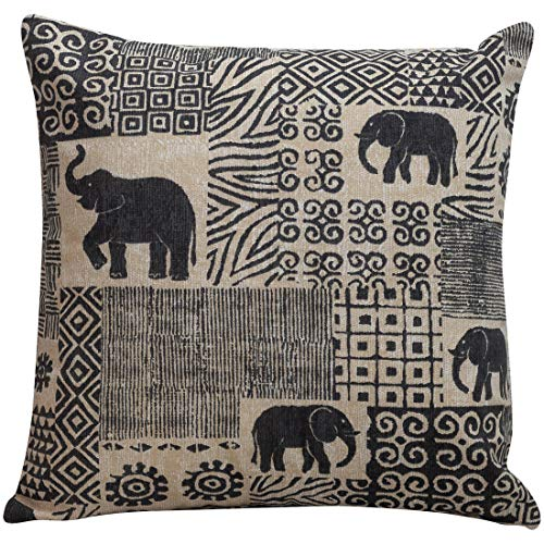 Tribal Patchwork Elephant Cushion Cover. Double Sided linen effect, 17x17' Pillowcase. Colonial African Style Design. Ethnic safari animal print. Charcoal grey and linen.