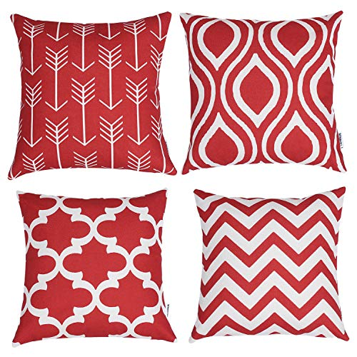 TIDWIACE® Red Cushion Covers Decorative New Living Accent Pillowcase for Car Home 18 x 18 inch 45 x 45 cm, Set of 4 Red Series