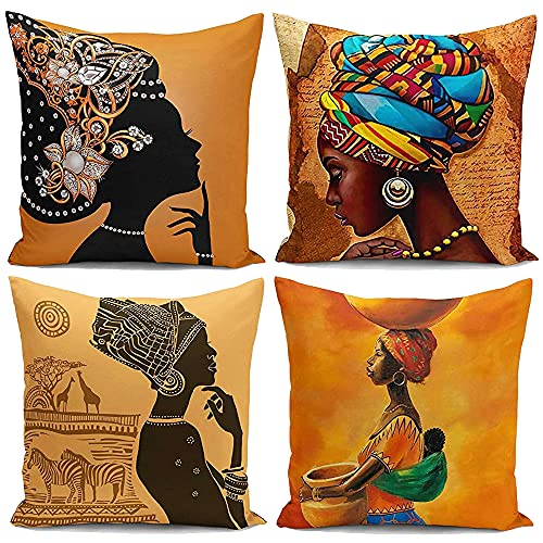 KUNQIAN African Cushion Covers Set Of 4 Durable Thick Linen Throw Pillow Case Square African Pattern Decor Art Gifts For Home Sofa Bench Office Hotel Bar Car 18x18inch (45x 45cm)