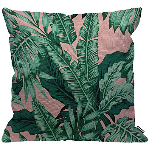 HGOD DESIGNS Banana Leaf Cushion Cover,Tropical Green Leaves Pink Throw Pillow Case Home Decorative for Men/Women Living Room Bedroom Sofa Chair 18X18 Inch Pillowcase 45X45cm