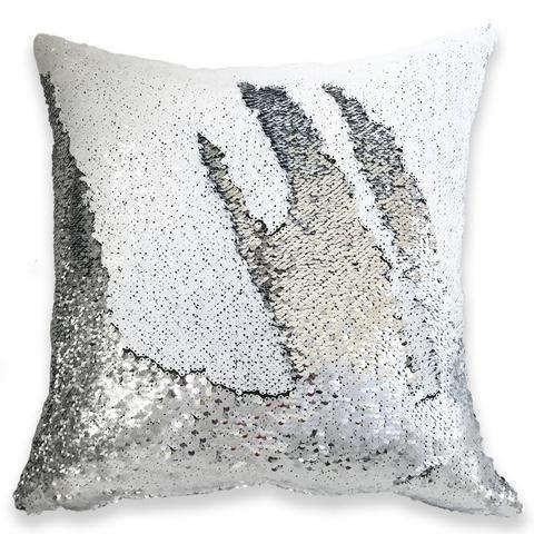 White Silver 16'' Magic Mermaid Pillow Case Reversible Sequin Glitter Sofa Cushion Cover