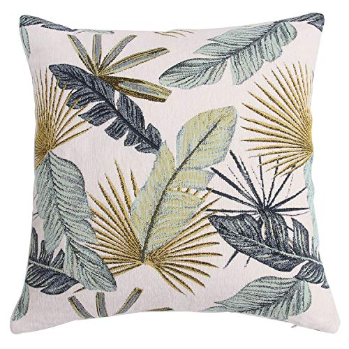 Yeiotsy Home Decoration, Tropical Leaf Cushion Cover Decorative Pillow Case Jacquard Chenille (Yellow)