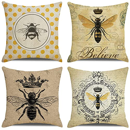 HUASHUZI Set of 4 Cushion Cover Bee Retro Yellow Cotton Linen Thick Durable Cushion Case For Decorative Sofa Back Throw Pillow Cover Home Office Car Decoration 18x18 Inch