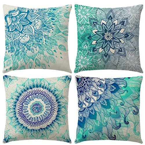 Freeas Set of 4 Mandala Throw Pillow Covers Bohemian Decorative Square 18 x 18 Inch 45 x 45 cm Boho Cushions for Home Decor Design Sofa Bedroom Car Floral Outdoor Cushions (A)