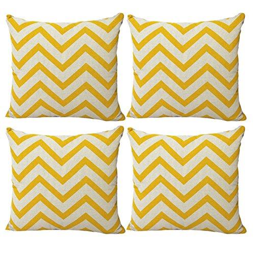 Luxbon Set of 4 Pcs Yellow Zigzag Stripes Wave Cushion Covers 18x18 Geometric Mediterranean Style Sofa Throw Pillowcase 45x45cm Cotton Linen Cushion Case Covers Home Decors