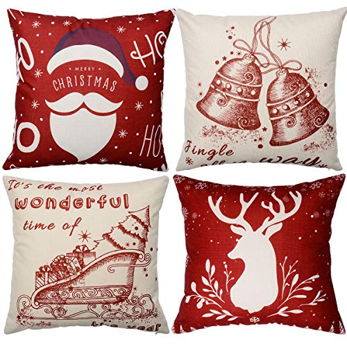 Zhichengbosi Christmas Cushions, 4 PCS Cushion Covers Christmas Decoration Pillow Case, 45 cm x 45 cm Merry Christmas Pillow Cover for Sofa Bedroom