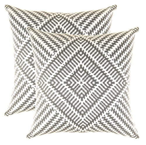 TreeWool, (2 Pack Cushion Covers Kaleidoscope Accent in Cotton Canvas (45 x 45 cm, Graphite)