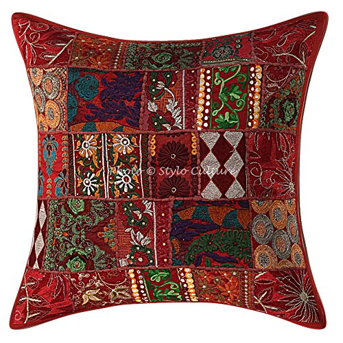 Stylo Culture Ethnic Decorative Large Cushion Covers 60 x 60 cm Home Decor Maroon Vintage Fabric Patchwork Cotton Living Room Couch Throw Pillow Cover Floral 60x60 cm Pillow Case