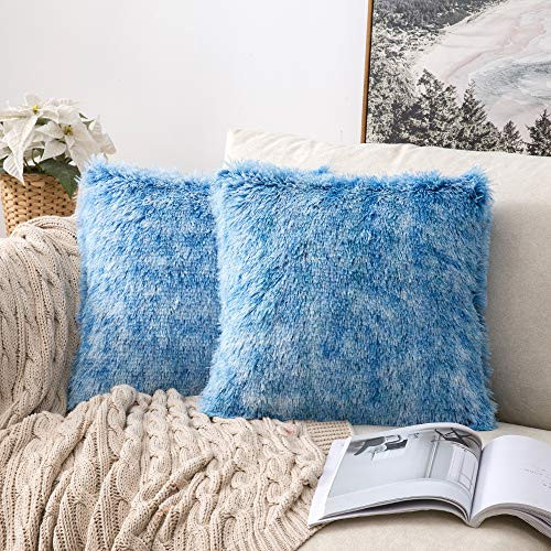 MIULEE Fluffy Soft Decorative Square Plush Pillow Case Faux Fur Cushion Covers For Sofa Bedroom Chair 18 x 18 Inch 45 x 45 CM Set of 2 Blue