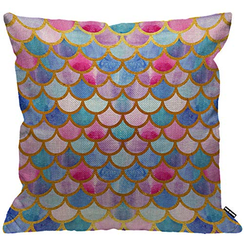 HGOD DESIGNS Mermaid Scales Cushion Cover,Colorful Watercolor Fish Scales Throw Pillow Case Home Decorative for Men/Women Living Room Bedroom Sofa Chair 18X18 Inch Pillowcase 45X45cm